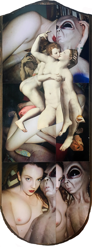 HANNAH HADDIX, Allegory of time & love – featuring photographs of artist and her alien lover, Baelien,  Collage auf Holz, 48 x 18 cm, 2016, CHF 666.-