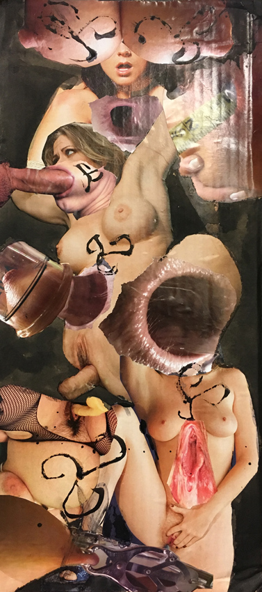 STEVEN  LEYBA, The Conspiracyof Women, Collage auf Karton, 53.6 x 23 cm, 2017, CHF 880.-