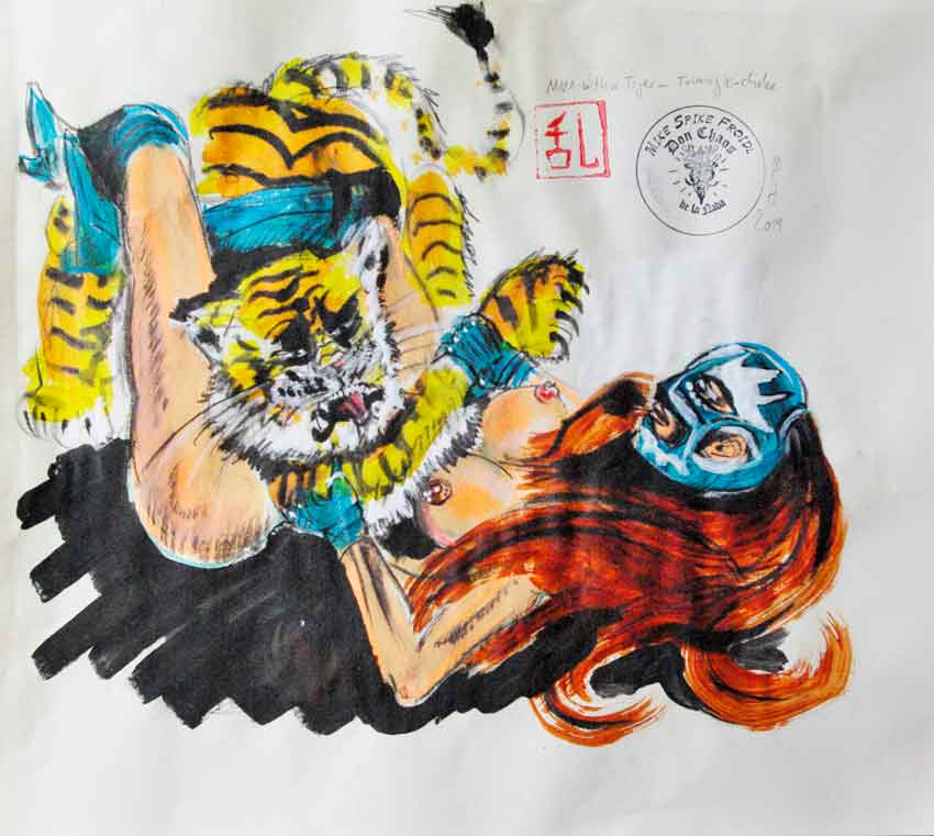 MIKE SPIKE FROIDL, MMA with a Tiger: Triangle-Choke, Acryl-Pastell-Kohlezeichnungen, 42 x 46.5 cm,  2019, ohne Rahmen, Preis: CHF 380.-