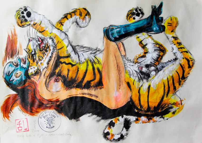 MIKE SPIKE FROIDL, MMA with a Tiger: Rear-Racked-Choke, Acryl-Pastell-Kohlezeichnungen, 42 x 46.5 cm,  2019, ohne Rahmen, Preis: CHF 380.- SOLD
