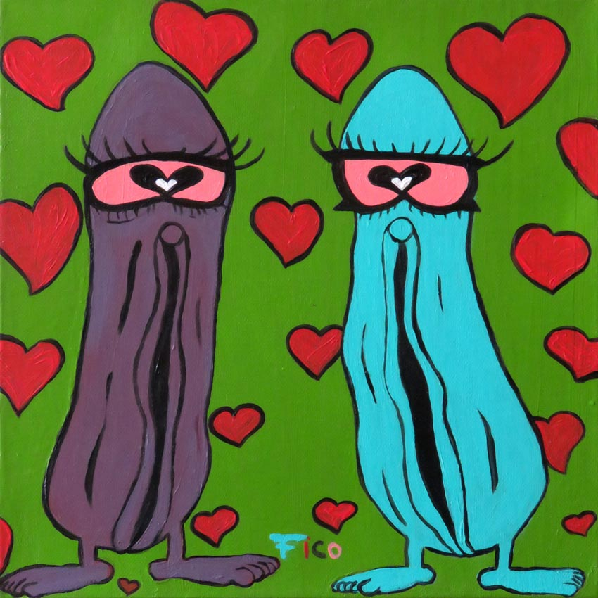 FEDERICO GUERRERO, Vaginas in Love, acrylic on canvas, 30 x 30 cm, 2018, CHF 350.-
